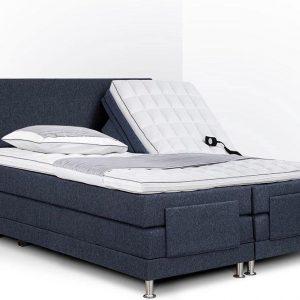 Boxspring Flanny compleet, merk Olympic Life®, elektrisch verstelbaar, 140 x 210 cm, blauw, 18-delig