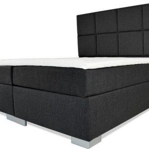 Boxspring Florence - Vaste luxe box - Pocketvering matras + Topper - 160 x 220 - 8 vakken - Antraciet - L poten