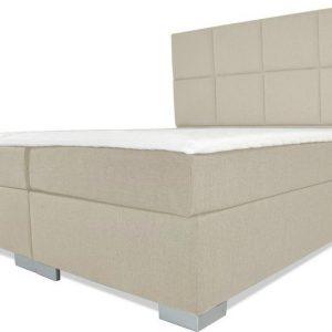 Boxspring Florence - Vaste luxe box - Pocketvering matras + Topper - 160 x 220 - 8 vakken - Beige - L poten
