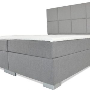 Boxspring Florence - Vaste luxe box - Pocketvering matras + Topper - 160 x 220 - 8 vakken - Grijs - L poten