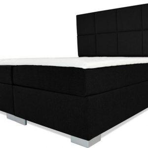 Boxspring Florence - Vaste luxe box - Pocketvering matras + Topper - 160 x 220 - 8 vakken - Zwart - L poten