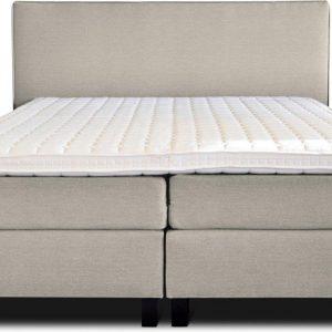 Boxspring Flynta compleet, merk Olympic Life®, 140 x 210 cm, beige, 18-delig, breed hoofdbord met luxe gestikte afwerking en bolling, extra hoge onderboxen