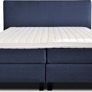 Boxspring Flynta compleet, merk Olympic Life®, 140 x 210 cm, blauw, 18-delig, breed hoofdbord met luxe gestikte afwerking en bolling, extra hoge onderboxen