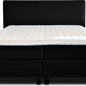 Boxspring Flynta compleet, merk Olympic Life®, 160 x 220 cm, zwart, 18-delig, breed hoofdbord met luxe gestikte afwerking en bolling, extra hoge onderboxen