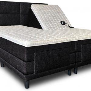 Boxspring Lancome compleet, merk Olympic Life, elektrisch verstelbaar, 140 x 210 cm, zwart, 18-delig met 4 vlakken motief hoofdbord