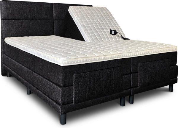 Boxspring Lancome compleet, merk Olympic Life, elektrisch verstelbaar, 160 x 220 cm, zwart, 18-delig met 4 vlakken motief hoofdbord