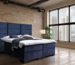 Boxspring Marseille - Inclusief 9 comfortzones pocketveringmatras en koudschuimtopper - Donkerblauw Velvet - 160x220 cm