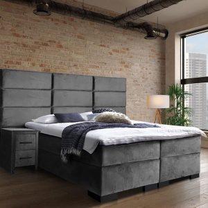 Boxspring Marseille - Inclusief 9 comfortzones pocketveringmatras en koudschuimtopper - Grijs Velvet - 160x220 cm
