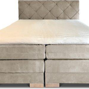 Boxspring Musa compleet, merk Olympic Life, 160 x 220 cm, beige, 18-delig met luxe ruiten motief hoofdbord - Skaileer Jeep stoffering