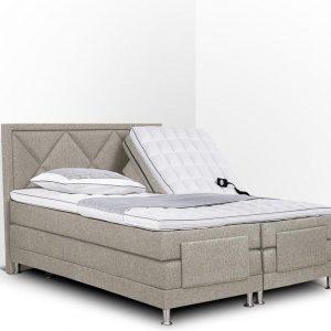 Boxspring Neo compleet, merk Olympic Life®, elektrisch verstelbaar, 140 x 200 cm, beige, 18-delig met ruiten motieven hoofdbord