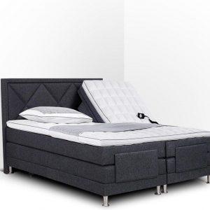 Boxspring Neo compleet, merk Olympic Life®, elektrisch verstelbaar, 140 x 200 cm, grijs, 18-delig met ruiten motieven hoofdbord