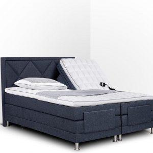 Boxspring Neo compleet, merk Olympic Life®, elektrisch verstelbaar, 140 x 210 cm, blauw, 18-delig met ruiten motieven hoofdbord