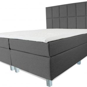 Boxspring Pisa - Vaste luxe box - Pocketvering matras + Topper - 160 x 220 - 12 vakken - Antraciet - Vierkante poten