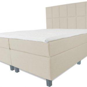 Boxspring Pisa - Vaste luxe box - Pocketvering matras + Topper - 160 x 220 - 12 vakken - Beige - Vierkante poten