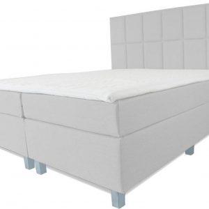Boxspring Pisa - Vaste luxe box - Pocketvering matras + Topper - 160 x 220 - 12 vakken - Grijs - Vierkante poten