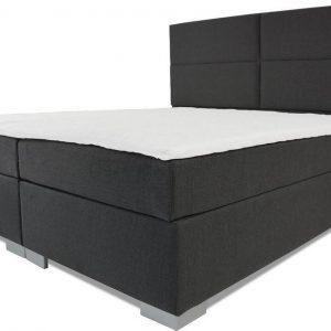 Boxspring Rome - Vaste luxe box - Pocketvering matras + Topper - 160 x 220 - 4 vakken - Antraciet - L poten