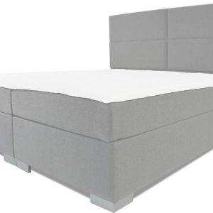 Boxspring Rome - Vaste luxe box - Pocketvering matras + Topper - 160 x 220 - 4 vakken - Grijs - L poten
