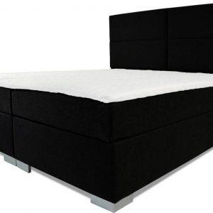 Boxspring Rome - Vaste luxe box - Pocketvering matras + Topper - 160 x 220 - 4 vakken - Zwart - L poten