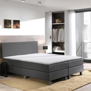 Boxspring inclusief Topdekmatras - Antraciet - 80x210 - Eenpersoons Bed