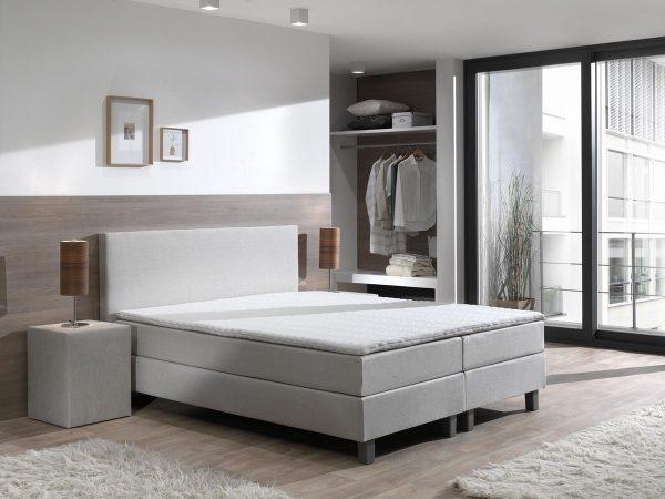 Boxspring inclusief Topdekmatras - Beige - 140x220 - Tweepersoons Bed