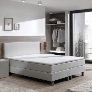Boxspring inclusief Topdekmatras - Beige - 80x220 - Eenpersoons Bed