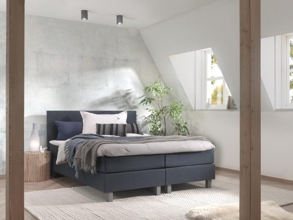 Boxspring inclusief Topdekmatras - Donkerblauw - 140x220 - Tweepersoons Bed