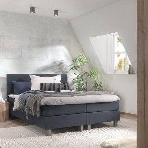 Boxspring inclusief Topdekmatras - Donkerblauw - 200x220 - Tweepersoons Bed