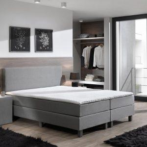 Boxspring inclusief Topdekmatras - Grijs - 80x220 - Eenpersoons Bed