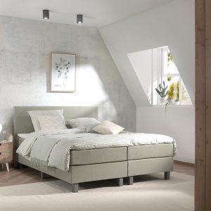 Boxspring inclusief Topdekmatras - Groen - 80x210 - Eenpersoons Bed