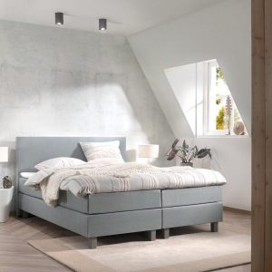 Boxspring inclusief Topdekmatras - Lichtblauw - 200x220 - Tweepersoons Bed