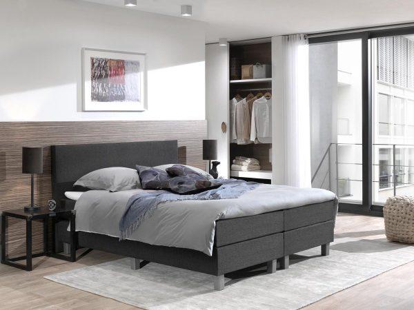 Boxspring inclusief Topdekmatras - Zwart - 120x220 - Twijfelaar Bed