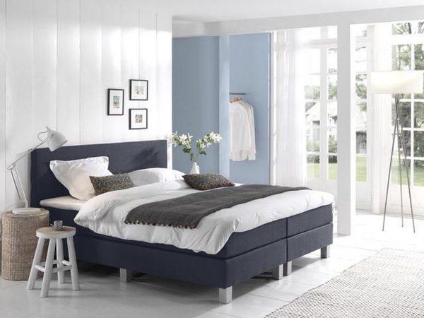 Complete Boxspring 120x220 cm - Donkerblauw - Pocketvering matrassen - Dreamhouse Louis - Twijfelaar