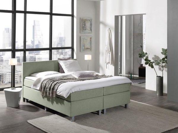 Complete Boxspring 140x220 cm - Groen - Pocketvering matrassen - Dreamhouse Louis - Twijfelaar - Extra hoge onderbox - 30 cm onderbox (67cm lighoogte)