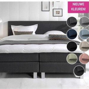 Complete Boxspring 160 x 220 cm - Antraciet - Pocketvering matrassen - Dreamhouse Louis - Twee persoons