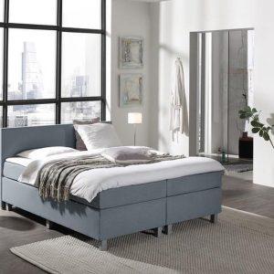 Complete Boxspring 160 x 220 cm - Lichtblauw - Pocketvering matrassen - Dreamhouse Louis - Twee persoons - Extra hoge onderbox - 30 cm onderbox (67cm lighoogte)