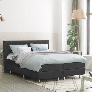 Complete Boxspring 160x200 cm - Antraciet - Pocketvering matrassen - Dreamhouse Alaska - Twee persoons bed