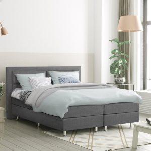 Complete Boxspring 160x200 cm - Grijs - Pocketvering matrassen - Dreamhouse Alaska - Twee persoons bed