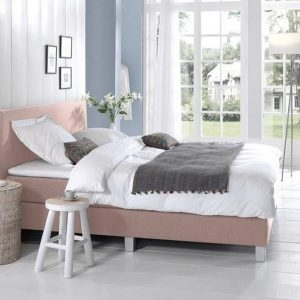 Complete Boxspring 160x200 cm - Roze - Pocketvering matrassen - Dreamhouse Louis - Twee persoons