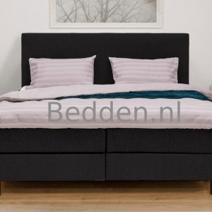 Complete Boxspring Atlas - Zwart - 200 x 200 King Size - Inclusief HR Topper