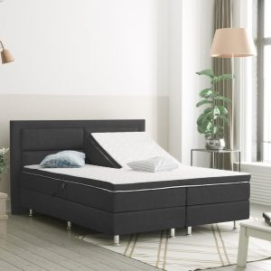 Complete Elektrisch Boxspring 160x200 cm - Antraciet - Pocketvering matrassen - Dreamhouse Alaska - Twee persoons bed