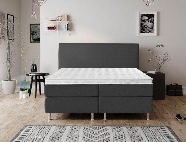 Complete Luxe Boxspring - Bazel - Dreamhouse - 140x200 - Antraciet - Twijfelaar - Bed