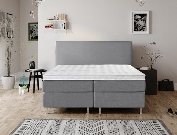 Complete Luxe Boxspring - Bazel - Dreamhouse - 140x200 - Grijs - Twijfelaar - Bed