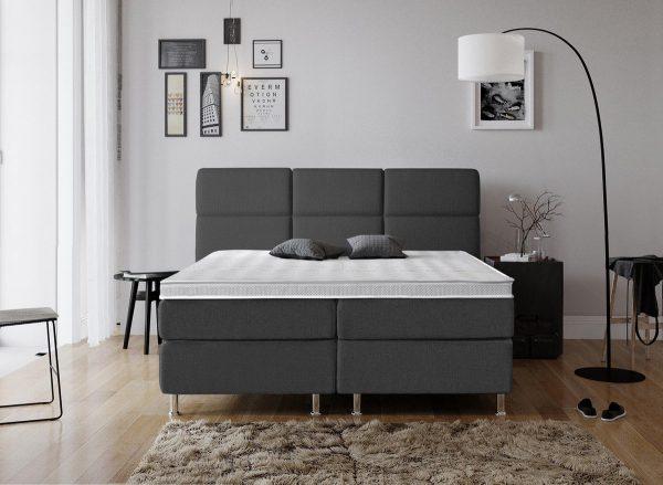 Complete Luxe Boxspring - Geneve - Dreamhouse - 140x200 - Antraciet - Twijfelaar - Bed