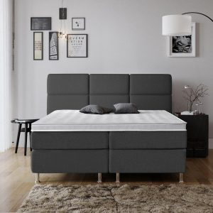 Complete Luxe Boxspring - Geneve - Dreamhouse - 160x200 - Antraciet - Twee persoons - Bed