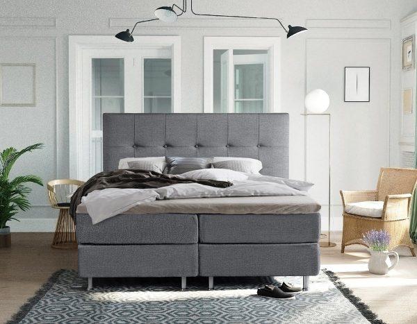 Complete Luxe Boxspring - Sierre - Dreamhouse - 140x200 - Grijs - Twijfelaar - Bed