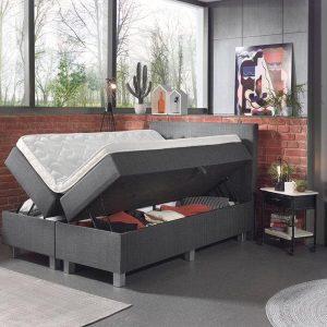 Complete Opbergboxspring 160x200 cm - Inclusief pocketvering matrassen - Boxspring Atelier - Model Storage - Tweepersoons bed met opbergruimte