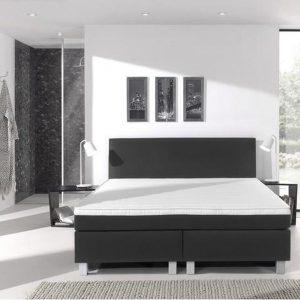 Complete boxspring- 140x220 cm - bed - Kunstleer Zwart - Dreamhouse Eddy - 1 groot matras