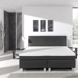 Complete boxspring- 200x200 cm - bed - Antraciet - Dreamhouse Eddy - 1 groot matras