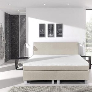 Complete boxspring- 200x200 cm - bed - Beige - Dreamhouse Eddy - 1 groot matras