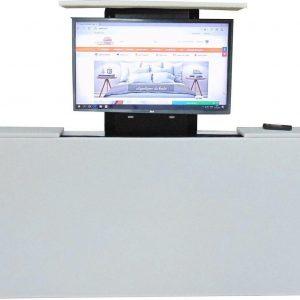 Los voetbord met TV lift - XL: TV's t/m 50 inch - 140 cm breed - Wit Kunstleer